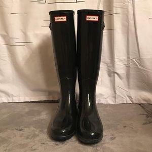 Hunter Black Glossy Tall Rainboots